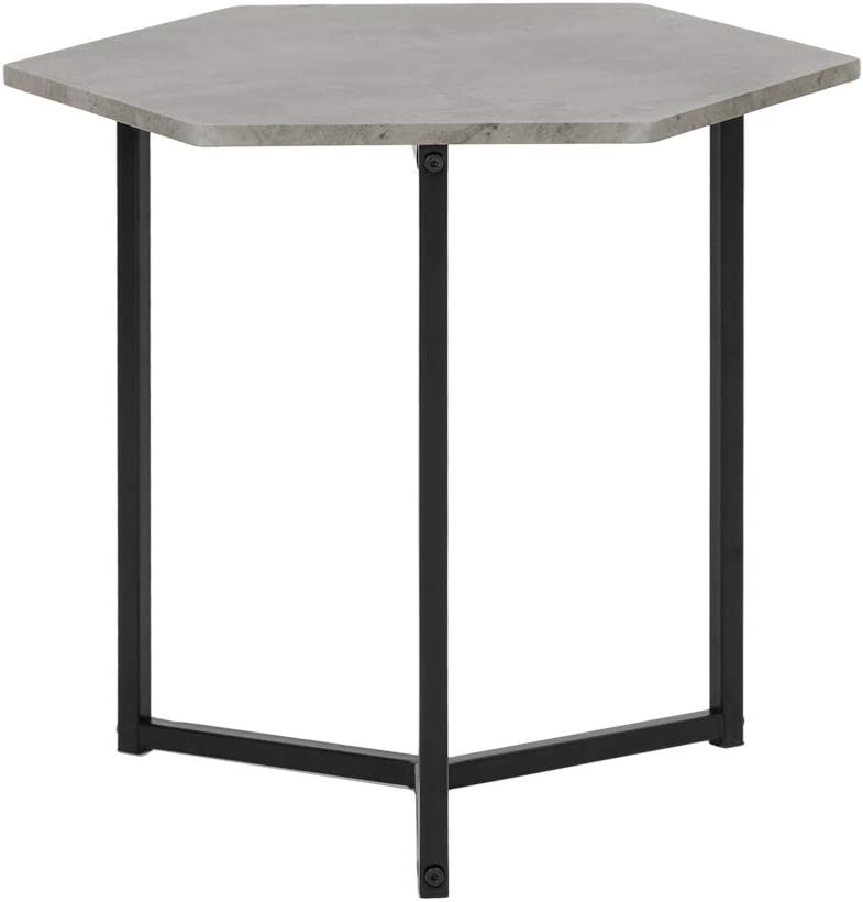 Roomnhome Nordic Side Table, Modern 17'' Height Decor Furniture Round/Hexagon Side Table for Bedroom, Living Room, Balcony, Home and Office (Hexagon/Stone Pattern/Black Frame)