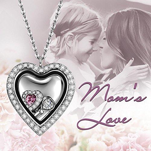 """Ladycolour zircon Cœur Médaillon pendentif Collier, gravé avec """"Love"""""""