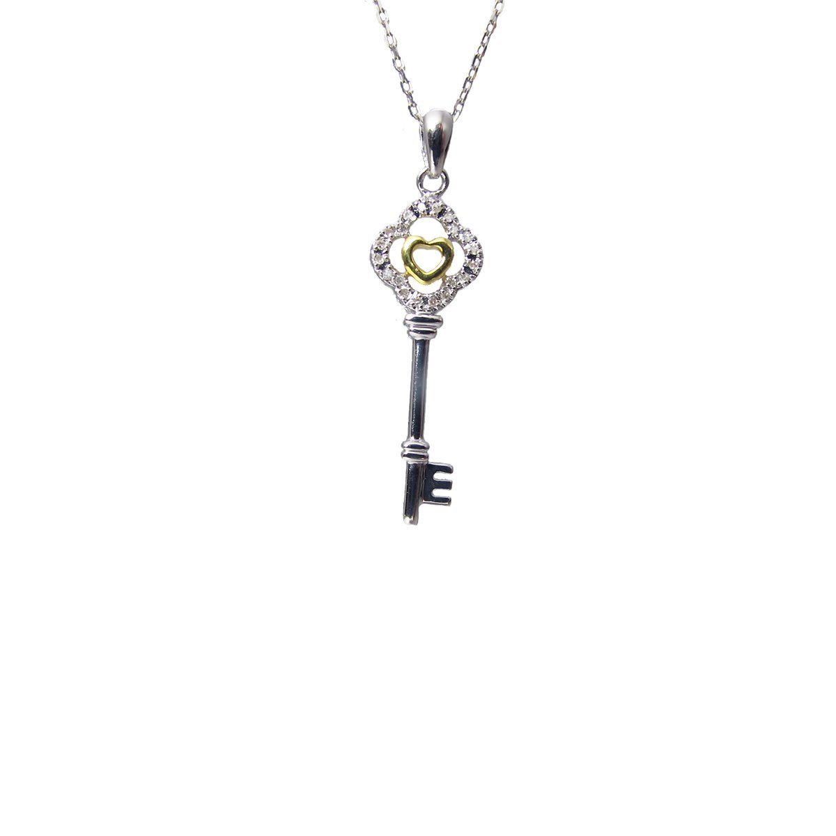 18 USA Precious Key Pendant Necklace with Diamonds with Yellow Gold Color Heart