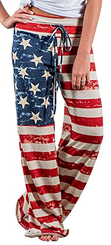 X-Image Women's American Flag Floral Drawstring High Waist Wide Leg Pants Multicoloured, XXX-Large (American Flag Sweatpants)