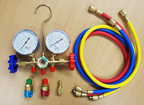 R12 R22 R134a R502 Manifold Gauge Set HVAC A/C Refrigeration Charging Service ()