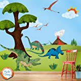 My Wonderful Walls Dinosaur Wall Sticker Kit Easy,Peel,Stick,Repositionable and Removable Wall Decals, Multicolored