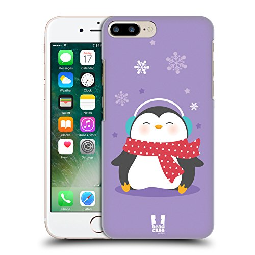 Head Case Designs Sciarpa A Pois Pinguini Natalizi Kawaii Cover Retro Rigida per Apple iPhone 7 Plus / 8 Plus