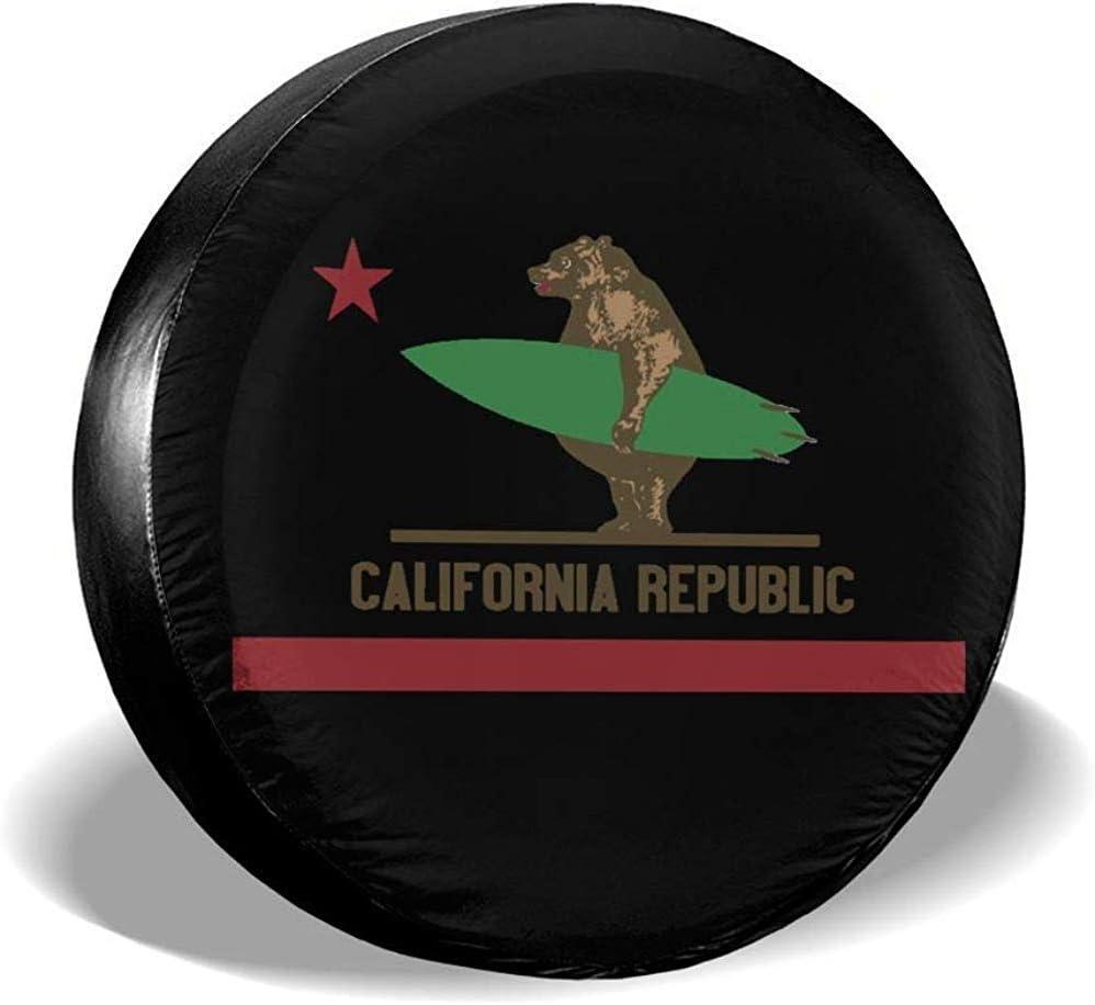 Couverture de Roue California Surfing Bear Longboard Roue de Secours Couvre-Pneu Universel 16 Pouces r/ésistant aux intemp/éries