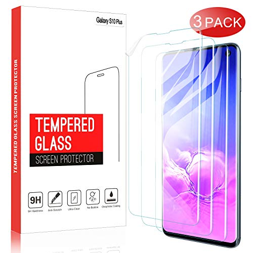 (IVSO 3 Pack Screen Protector for Samsung Galaxy S10 Plus, Flexible Film,Ultrasonic Fingerprint Compatible,Bubble-Free,Case Friendly Scratch Resistant for Samsung Galaxy S10 Plus (Transparent))