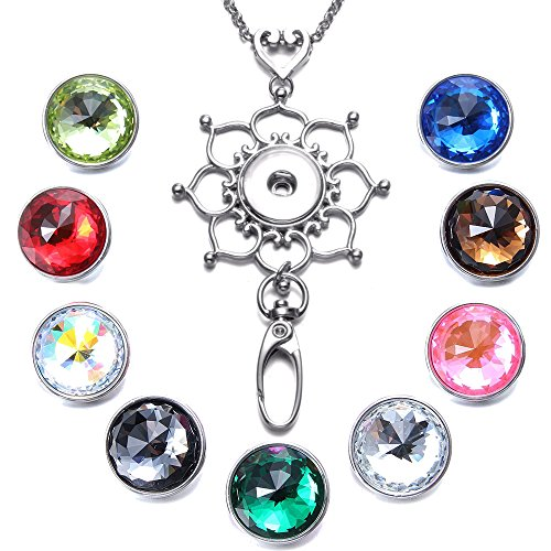 Soleebee Interchangeable 34.3 inches Silver Chain Love Heart Flower ID Badge Lanyard Necklace Bonus 9pcs Facets Crystal Glass Snap Buttons