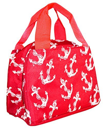 Ever Moda Nautical Red Anchors Insulated Lunch Bag 10-inch