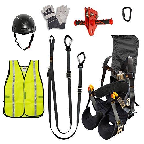 Fusion Climb Pro Backyard Zip Line Kit Harness Lanyard Trolley Carabiner Helmet Vest Glove Bundle FK-A-HLTCHVG-45