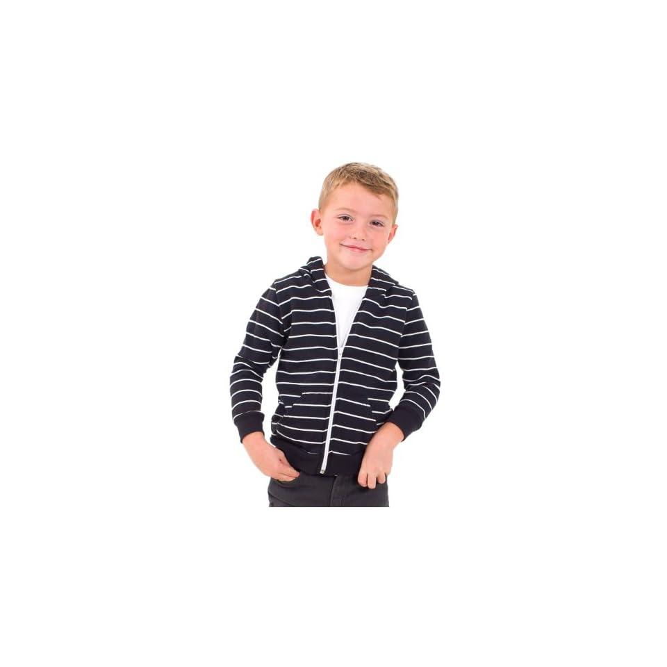 American Apparel Kids Striped Fleece Zip Hoodie   Almost Black White Stripe / 4 Years Athletic Hoodies Clothing