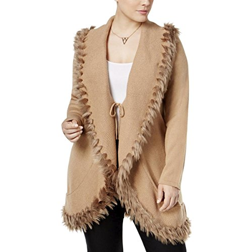 Cashmere Tie Front Cardigan (Alfani Womens Plus Fur Trim Tie Front Cardigan Sweater Tan 2X)