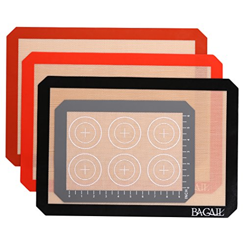 4 Set Silicone Baking Mat – 3 Thick Half Sheet Liners(11 5/8'' x 16 1/2'') and 1 Quarter Sheet Liners (8 1/2'' x 11 1/2'') - Professional Grade Non Stick Silicon Liner for Bake Pans & Rolling by BAGAIL (Image #5)