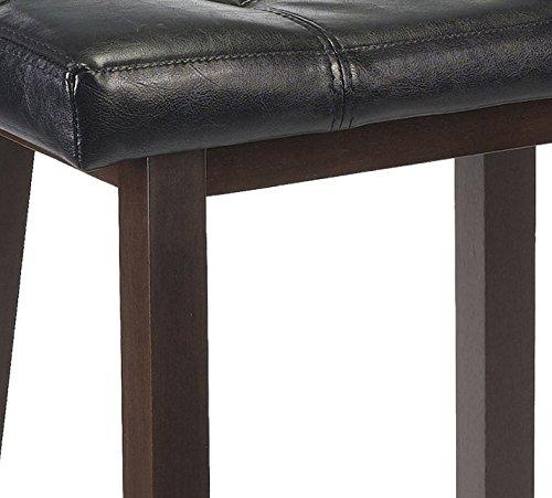 Rta Winsome Wood Mona 24-Inch Cushion Saddle Seat Stool Wood Legs Black Faux Leather