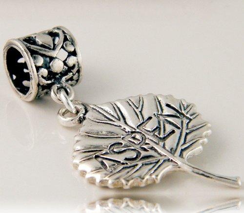 Aspen Leaf Beads (Aspen Leaf Sterling Silver Dangle Nature Charms)