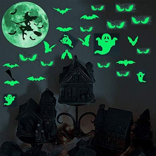 pegatinas luminosas de pared A Vohoney dise/ño de murci/élagos de bruja y murci/élagos para ventanas de Halloween Pegatinas luminosas para Halloween que brillan en la oscuridad