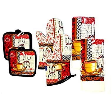 6 Piece Coffee Kitchen Linen Set (Oven Mitts, Dish Towels, and Pot Holders) (BROWN)