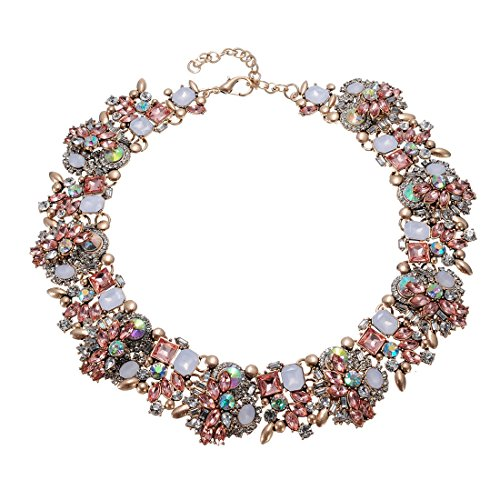 Jerollin Vintage Gold Tone Chain Multi-Color Glass Crystal Collar Choker Statement Bib Necklace ()