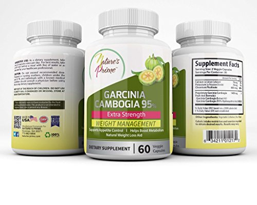 Nature's Prime Garcinia Cambogia 95% HCA Veggie Capsules - Natural Appetite Suppressant - Best Weight Loss Supplement - Extreme Carb Blocker & Fat Burner