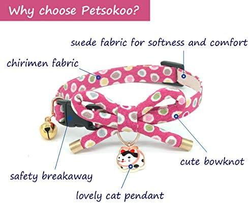 Collar de gato con campana, diseño de lazo con bonito abalorio de gato 2