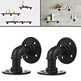 3S 2pcs 8x8cm Industrial Iron Pipe Shelf Bracket Wall Mounted Floating Shelf Hanging Wall Hardware, Black Iron
