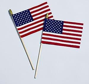 "American Handheld Stick Flag - No Fray US Flag 12""x18"""