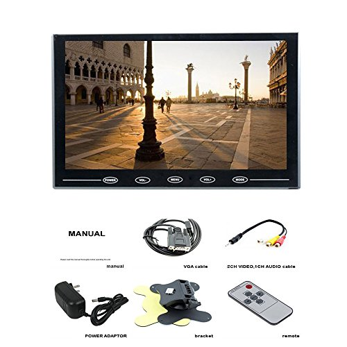 PONPY 9'' Ultra Thin 16:9 HD 800x480 TFT LCD Color Display Touch Button Monitor Screen with AV HDMI VGA Video Input for Raspberry Pi 3B+/Mini PC Display/Home Security/CCTV Camera by PONPY (Image #6)