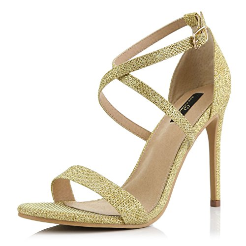 DailyShoes Women's Open Toe Ankle Buckle Cross Strap Platform Pump Evening Dress Party High Heel Jennifer-22 Sandals, Gold Glitter, 7.5 B(M) US