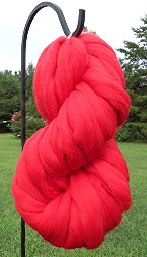 Valentine Red Wool Top Roving Fiber Spinning, Felting Crafts USA (8oz)
