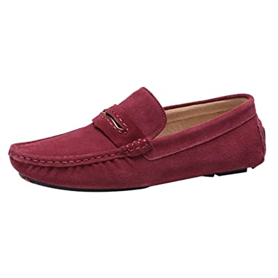 Abby 0057 Mens Stylish Casual Loafers Handsome Moccasins Slip-on Driver Work Leather Slippers