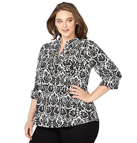 -AVENUE Women's Damask Roll Sleeve Shirt, 14/16 Black White