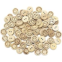 Wooden Handmade with Love Round Crafts Decor 2 Holes Wooden Sewing Scrapbook DIY Handmade Buttons 0.6 Inch 100Pcs