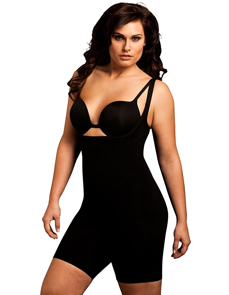 a4247eb02 Body Wrap Plus Size Seamless Long Thigh Under Bust Bodysuit Shaper Black  Nude at Amazon Women s Clothing store