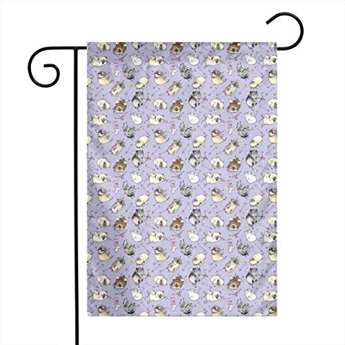 YANAIX Double Sided Indoor Outdoor Garden Flag 0.75-1 Love is in The Air Purple_1817 Fade Resistant Seasonal Holiday Decorative Yard Flag 12x18 Inch -
