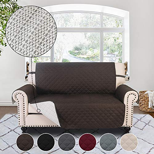 RHF Anti-slip Loveseat Cover for Leather Sofa, Pet Cover for Loveseat,Slip-Resistant Loveseat Slipcover&Protector for Dogs-Features Anti-slip Pad and Adjustable Strap,Machine Washable(Loveseat: Choco)