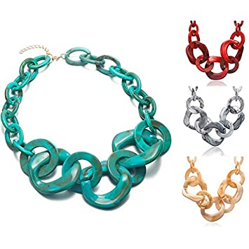Davitu Geometric Acrylic Necklace for Women Statement Necklaces /& Pendants Maxi Collar Womens New Fashion Jewelry for Gifts SP519 Metal Color: RED