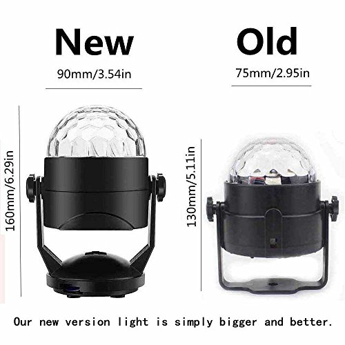 Portable Sound Activated Party Lights for Outdoor and Indoor, Battery Powered/USB Plug in, Dj Lighting, RBG Disco Ball, Strobe Lamp Stage Par Light for Car Room Dance Parties Birthday DJ Bar Club Pub by Luditek (Image #3)'