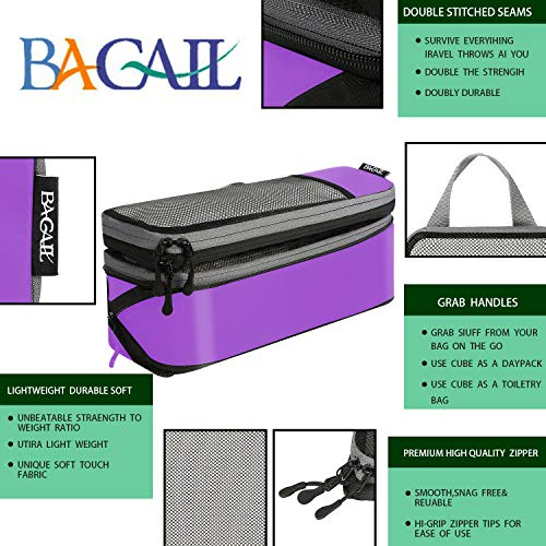 6 Set Compression Packing Cubes Travel Expandable Packing Organizers(Purple)