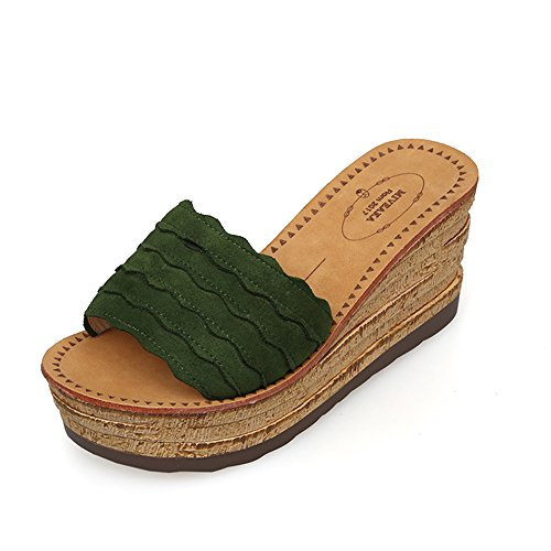 Sandals ZHIRONG Casual Slippers Female Summer Wedges Fashion High Heel Open Toe Women's Shoes Thick Bottom (Color : A, Size : EU36/UK4/CN36) A
