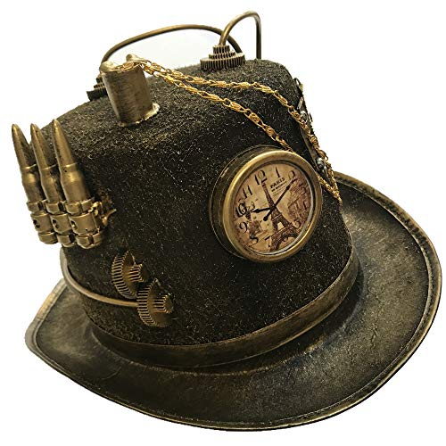 Storm Buy ] Steampunk Style Metallic Top Hat Scientist Time Traveler Halloween Costume Cosplay Party (Silver Bullet) -