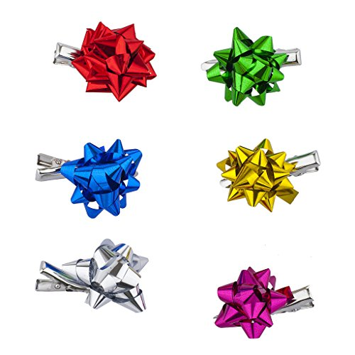 Lux Accessories SilverTone Gift Wrap Christmas Xmas Present Bow Salon Hair Clips ()