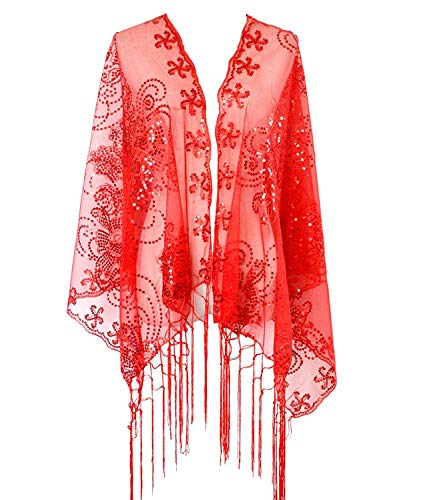 Zakia Women's Sequin Mesh Scarf 1920s Cape Fringed Evening Glittering Shawl Wrap for Wedding or Party (Red)