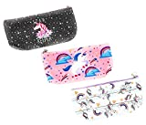 Unicorn Cosmetic Bag Set School Supplies Toiletries Makeup Pouch Organizer Pencil Cases Travel Pouches (3 pack)