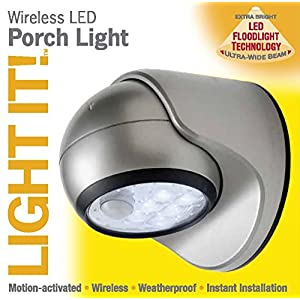 Light It! By Fulcrum 20031-101, 6 LED Wireless Indoor Outdoor Motion Sensor Light, 6 Inch, Silver