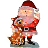 Product Works 32-Inch Pre-Lit Santa and Rudolph Christmas Yard Decoration, 70 Lights