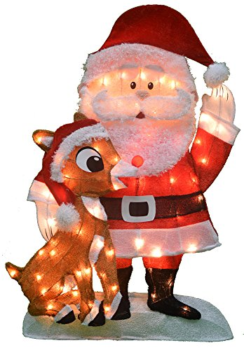 (ProductWorks Product Works 20307_L2D Decoration, 70 Lights 32-Inch Pre-Lit Santa and Rudolph Christmas Yard Decorati, Incandescent)