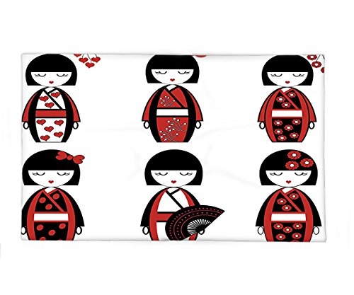 Interestlee Fleece Throw Blanket Girly Decor Collection Unique Japanese Geisha Dolls in Folkloric Costumes Outfits and Hair Sticks Kimono Art Image Black (Cole Costumes In Home)