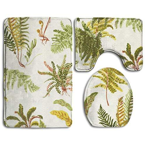 - Bahilye Bathroom Rugs Mats Set 3 Piece Fern Lotus Garden Extra Soft Bath Rug (20