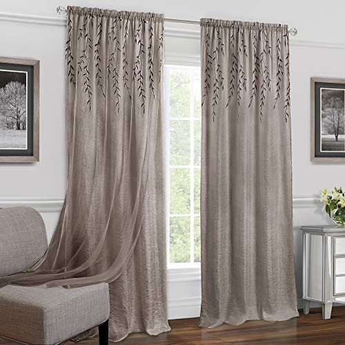 PowerSellerUSA Embroidered Double-Layer Floral 2-Pack Window Curtain Semi-Sheer Privacy Panels 42 x 84 , Rod Pocket Panel, Taupe