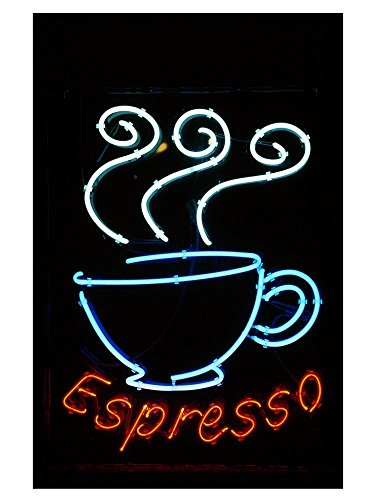 Glowing Neon Sign of an Espresso Coffee Cup Art Print, 17 x 22 ()