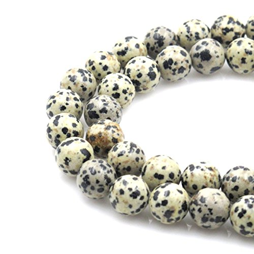 - Top Quality Natural Dalmatian Jasper Gemstone 8mm Round Loose Gems Stone Beads 15 Inch for Jewelry Craft Making GF17-8