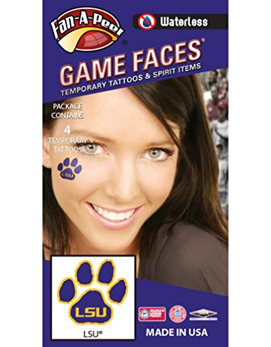 Spirit Tiger - LSU Tigers – Waterless Peel & Stick Temporary Spirit Tattoos – 4-Piece – Gold LSU Logo on Purple Paw Print
